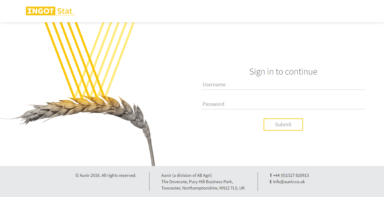 Ingot Stat Login Page